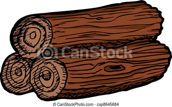 Pile of Three Logs - csp8645684