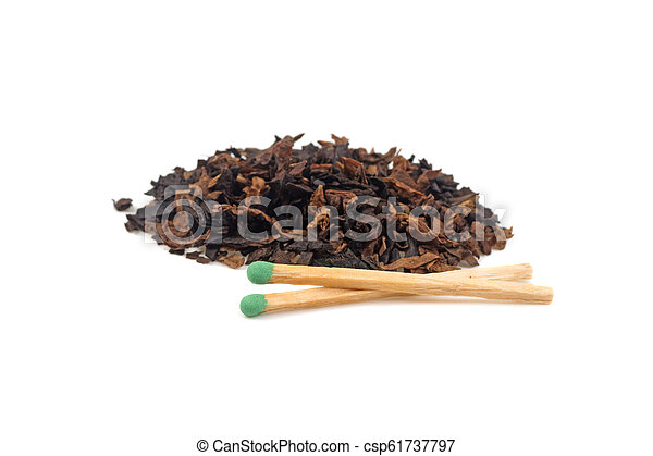 pile of tobacco and matches isolated on white background - csp61737797