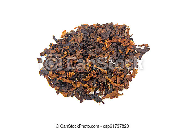 pile of tobacco isolated on white background - csp61737820