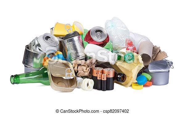 Pile of waste isolated on white background - csp82097402