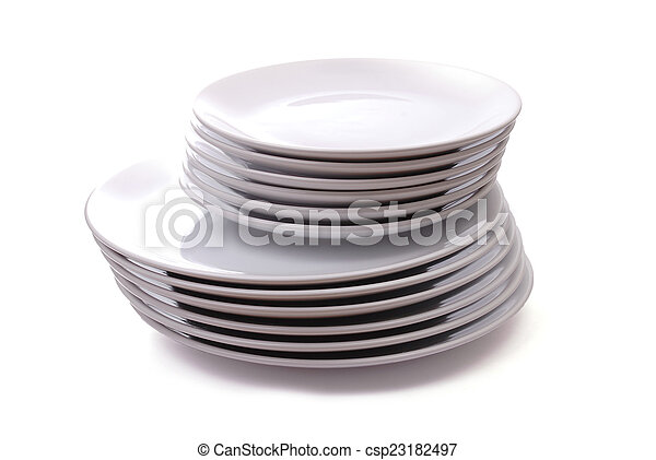Pile of white plates - csp23182497