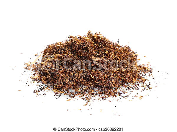 pile tobacco isolated on white - csp36392201