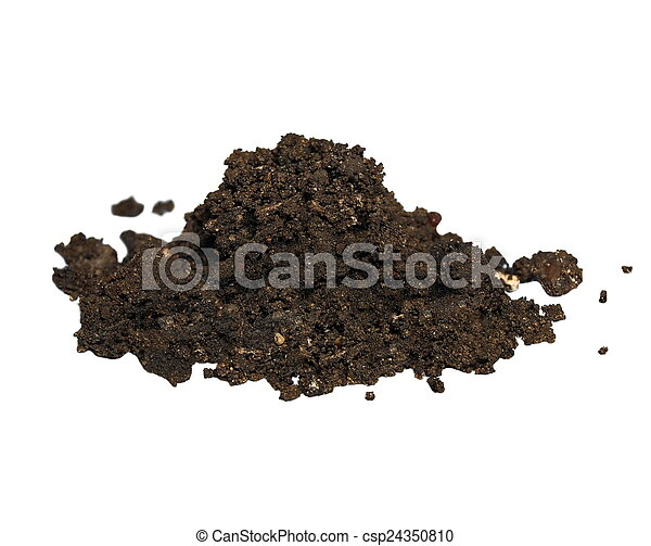 pile wet dirt isolated on white  - csp24350810