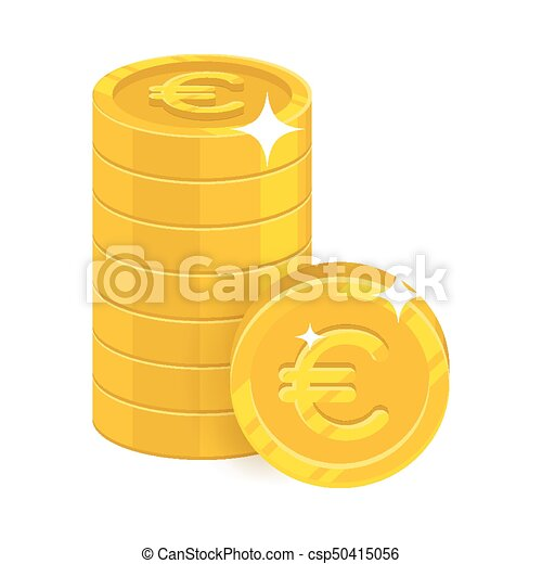 Piles Gold Euro Isolated Cartoon Icon Three Heaps Of Gold Euro And