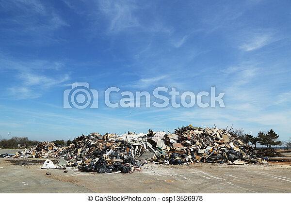 Piles of debris after Storm Sandy - csp13526978
