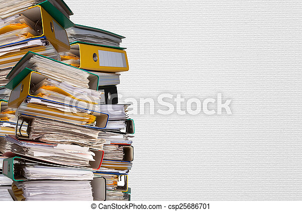 piles of file binder with documents - csp25686701
