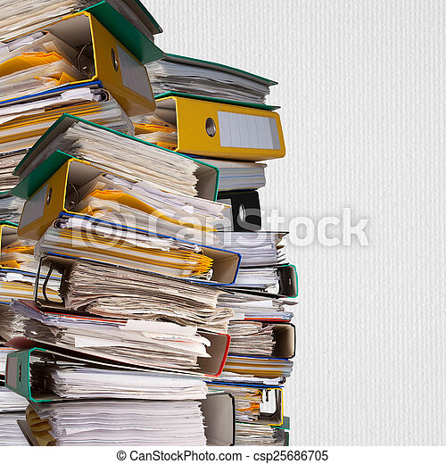 piles of file binder with documents  - csp25686705