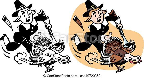 Pilgrim Chasing Turkey - csp40720362