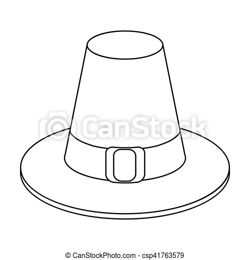 Pilgrim hat icon in outline style isolated on white ...