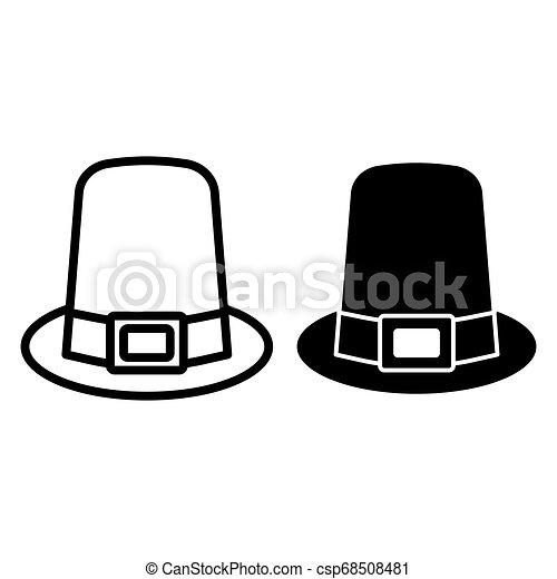 Pilgrim hat line and glyph icon. hat vector illustration ...