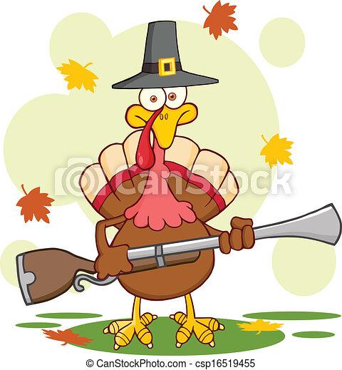 Pilgrim Turkey Bird With A Musket - csp16519455