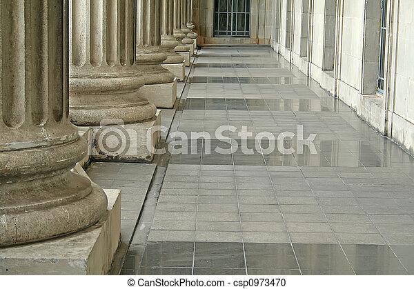 piliers, dehors, palais justice, ordre - csp0973470