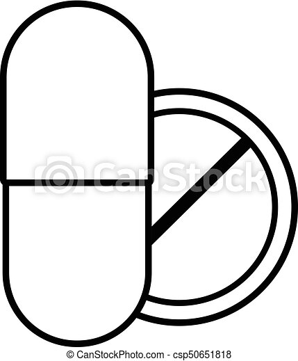 pill and tablet icon outline style pill and tablet icon rh canstockphoto com pill vector shape pill vector icon