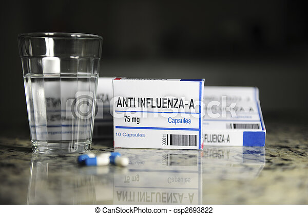 Pill packages anti flu with glass of water - csp2693822