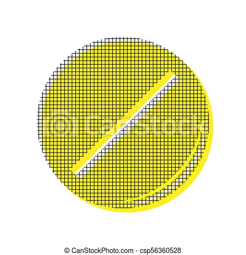 Pill sign illustration. Vector. Yellow icon with square pattern - csp56360528