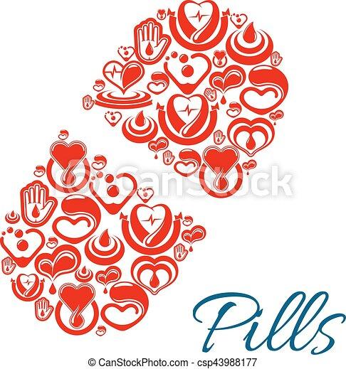Pill Vector Icon Of Heart Health Care Symbols Pill Capsule