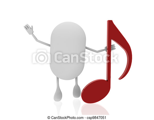 pill with music note - csp9847051