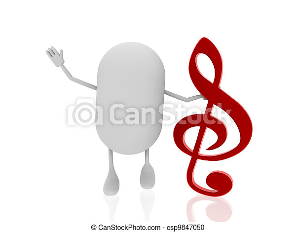 pill with music note - csp9847050