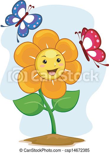 pillangók, virág, kabala - csp14672385