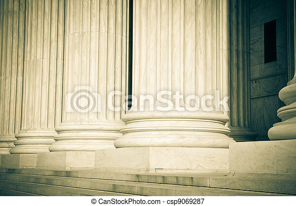 Pillars of Law and Justice US Supreme Court - csp9069287