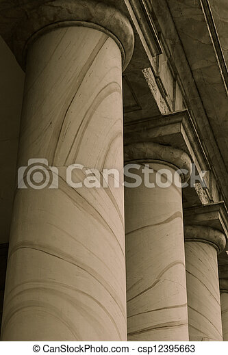 Pillars Symbolizing Law, Education and Government - csp12395663