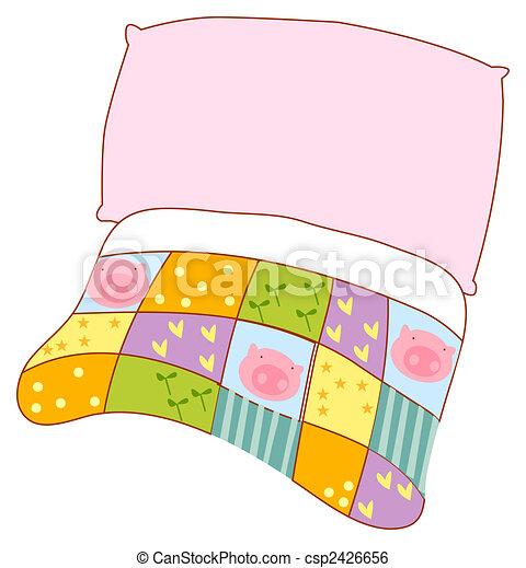 Pillow and quilt - csp2426656