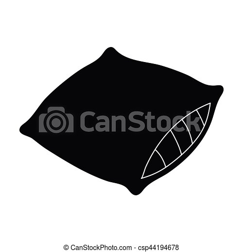 Pillow Icon In Black Style Isolated On White Background Sleep And Rest Symbol Stock Vector