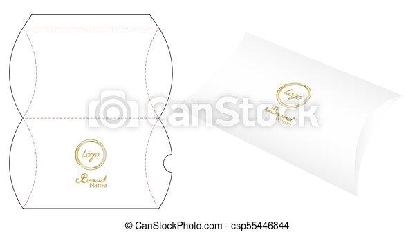 pillow pack box die cut template