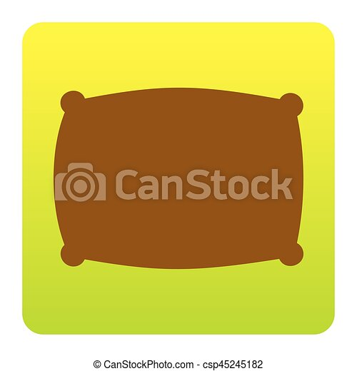 Pillow sign illustration. Vector. Brown icon at green-yellow gradient square with rounded corners on white background. Isolated. - csp45245182