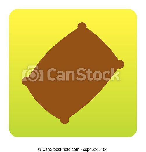 Pillow sign illustration. Vector. Brown icon at green-yellow gradient square with rounded corners on white background. Isolated. - csp45245184