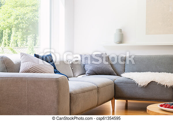 Fine Pillows On Grey Corner Couch In Scandinavian White Living Room Interior With Window Real Photo Dailytribune Chair Design For Home Dailytribuneorg