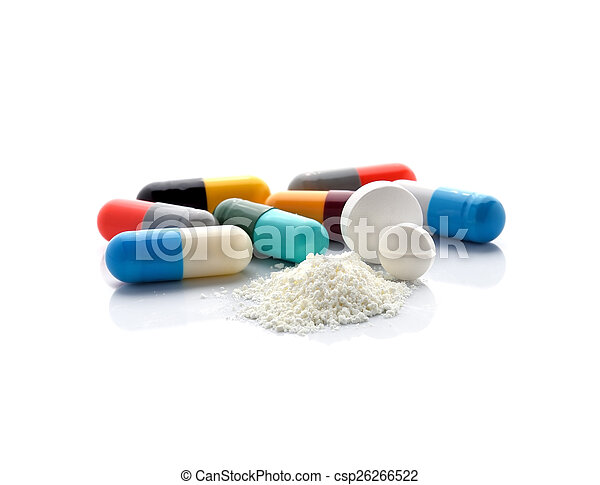 pills and capsules isolated on white background - csp26266522