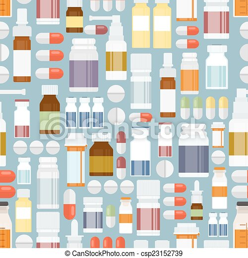 Pills and Drugs in Seamless Pattern - csp23152739