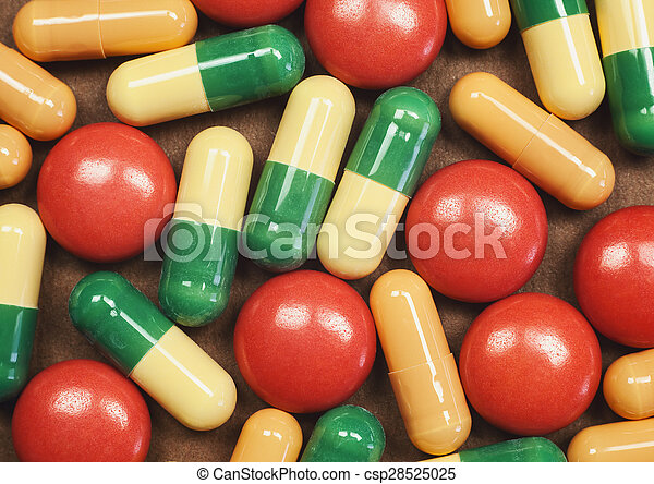 Pills and Tablets Macro - csp28525025