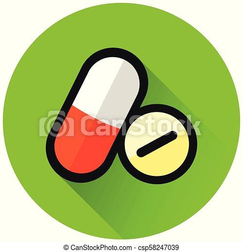 pills circle green flat icon - csp58247039