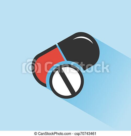 Pills color icon with shade on a blue background - csp70743461