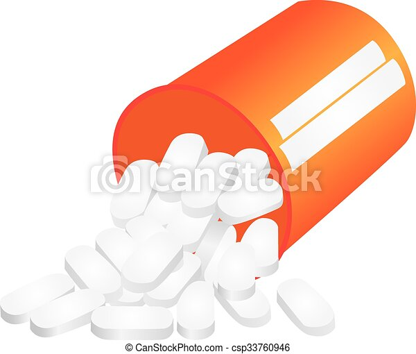 pills falling out of bottle three dimensional illustration eps rh canstockphoto com Pill Bottle Cranberry Pills