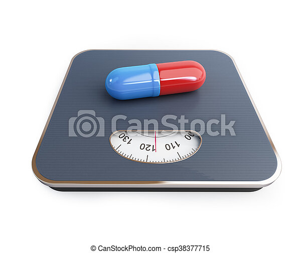 pills for weight loss floor scale on a white background. 3D illustration - csp38377715