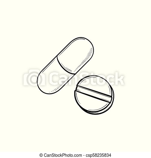 Pills Hand Drawn Outline Doodle Icon Tablet And Capsule As Cure