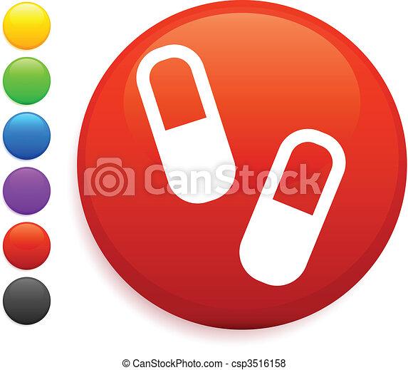 pills icon on round internet button - csp3516158