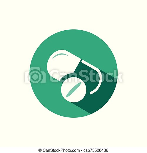 Pills icon with shadow on a green circle. Vector pharmacy illustration - csp75528436