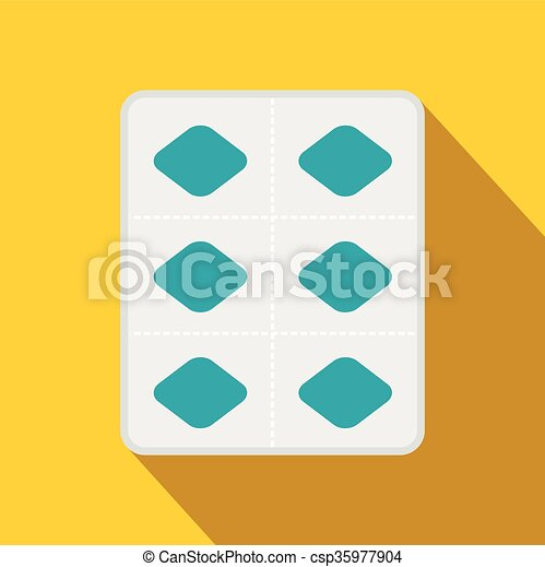 Pills in a blister pack icon, flat style - csp35977904