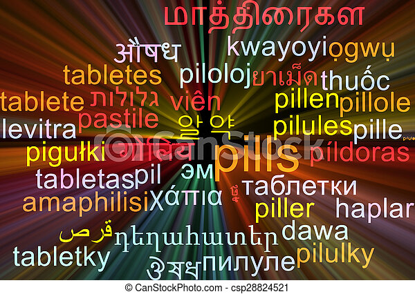 Pills multilanguage wordcloud background concept glowing - csp28824521