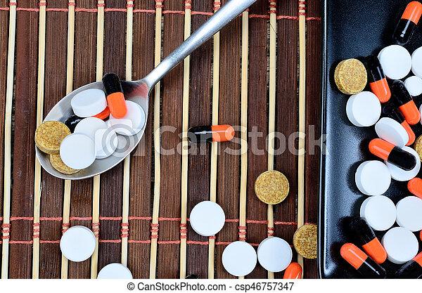 pills on table - csp46757347