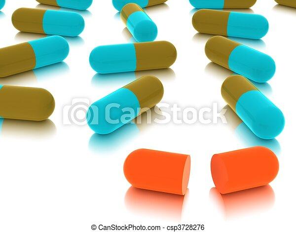 pills on white background - csp3728276