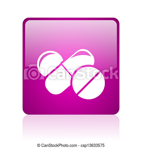 pills violet square web glossy icon - csp13633575