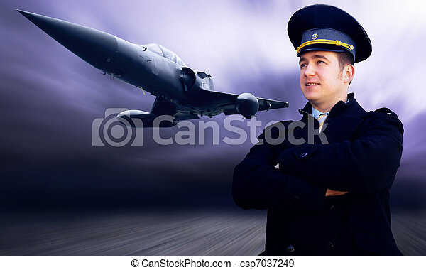 Pilot and military airplane on the speed - csp7037249