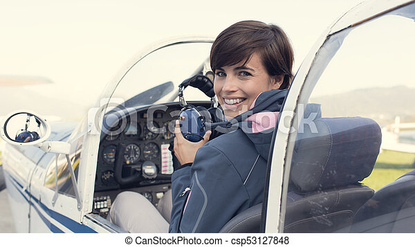 Pilot in the aircraft cockpit - csp53127848