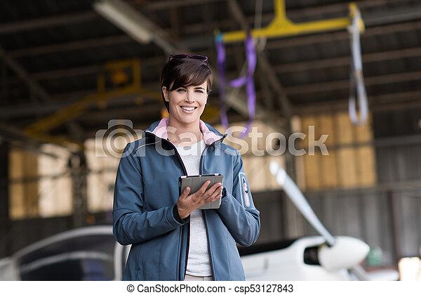 Pilot using a digital tablet - csp53127843