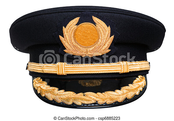 Pilots hat isolated. Photo of an airline pilots hat or cap ...